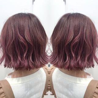 ピンクラベンダー ボブ ピンクアッシュ ピンクベージュ ヘアスタイルや髪型の写真・画像
