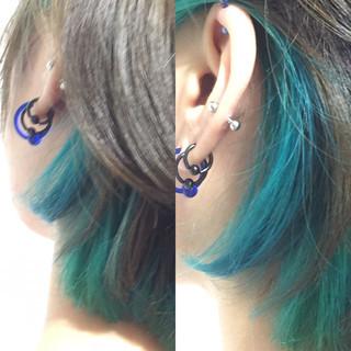 イルミナカラー ネイビーアッシュ 3Dカラー ガーリー ヘアスタイルや髪型の写真・画像