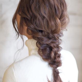 ゆるふわ 結婚式 花嫁 セミロング ヘアスタイルや髪型の写真・画像