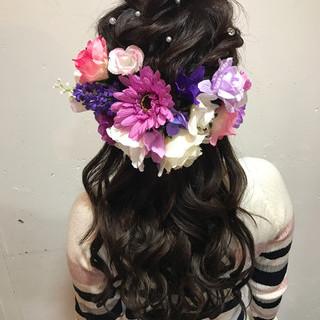 ロング ヘアアレンジ ハーフアップ ゆるふわ ヘアスタイルや髪型の写真・画像