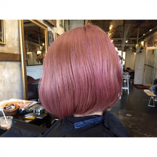 ボブ ラベンダーピンク ベージュ ピンク ヘアスタイルや髪型の写真・画像