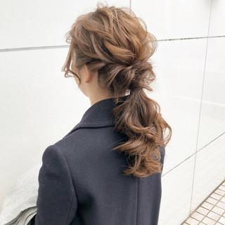 ロング フェミニン 結婚式 簡単ヘアアレンジ ヘアスタイルや髪型の写真・画像