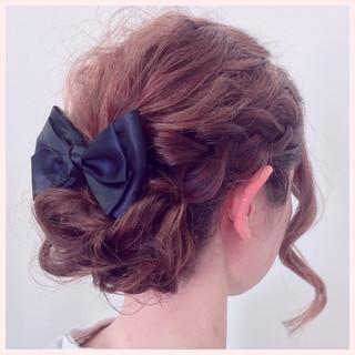 結婚式 三つ編み ミディアム ヘアアレンジ ヘアスタイルや髪型の写真・画像