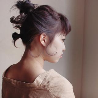 ナチュラル 簡単ヘアアレンジ ショート パーマ ヘアスタイルや髪型の写真・画像