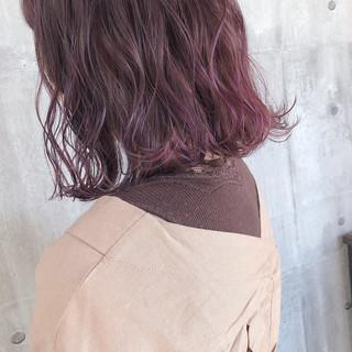ラベンダーピンク ナチュラル ピンクパープル パープルアッシュ ヘアスタイルや髪型の写真・画像