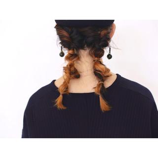 ガーリー ヘアアレンジ ツインテール セミロング ヘアスタイルや髪型の写真・画像