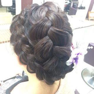 三つ編み ミディアム 謝恩会 ヘアアレンジ ヘアスタイルや髪型の写真・画像 ヘアスタイルや髪型の写真・画像