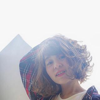 ガーリー モテボブ グレージュ ボブ ヘアスタイルや髪型の写真・画像