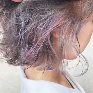 アッシュグレー ボブ 外国人風カラー ダブルカラー ヘアスタイルや髪型の写真・画像