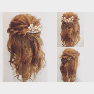 ミディアム ショート ゆるふわ ハーフアップ ヘアスタイルや髪型の写真・画像
