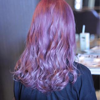 ピンク 愛され モテ髪 セミロング ヘアスタイルや髪型の写真・画像