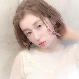 ボブ 春ヘア デート 透明感カラー ヘアスタイルや髪型の写真・画像