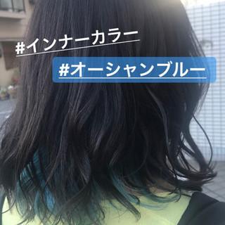 ストリート インナーカラー ミディアム 透明感 ヘアスタイルや髪型の写真・画像