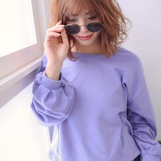 裾カラーオレンジ お洒落 フェミニン ミニボブ ヘアスタイルや髪型の写真・画像