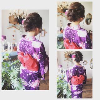 編み込み 夏 和装 ミディアム ヘアスタイルや髪型の写真・画像