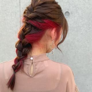デート ナチュラル ダブルカラー ロング ヘアスタイルや髪型の写真・画像