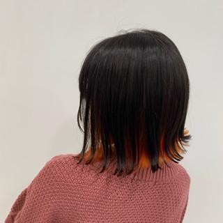 ストリート ミニボブ オレンジ ブリーチ ヘアスタイルや髪型の写真・画像