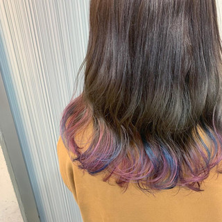 ダブルカラー ユニコーンカラー ストリート ミディアム ヘアスタイルや髪型の写真・画像