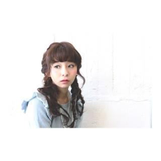 ツインテール ヘアアレンジ ガーリー フィッシュボーン ヘアスタイルや髪型の写真・画像