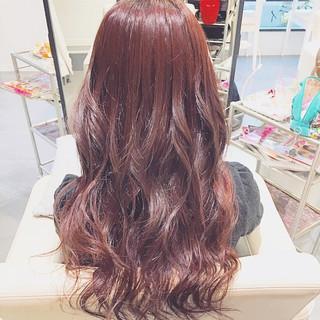 ロング レッド ガーリー 冬 ヘアスタイルや髪型の写真・画像