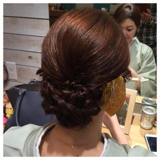 アップスタイル 編み込み ねじり 着物 ヘアスタイルや髪型の写真・画像 ヘアスタイルや髪型の写真・画像