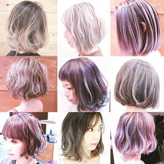 インナーカラー ボブ ハイライト グラデーションカラー ヘアスタイルや髪型の写真・画像