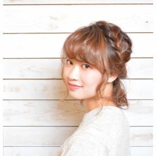 ヘアアレンジ フェミニン ボブ 編み込み ヘアスタイルや髪型の写真・画像