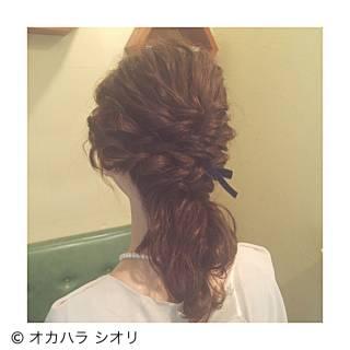編み込み 波ウェーブ パーティ 外国人風 ヘアスタイルや髪型の写真・画像