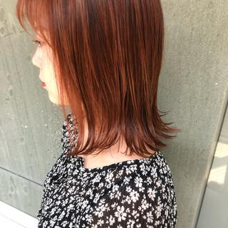 ボブ オレンジブラウン ナチュラル ウェットヘア ヘアスタイルや髪型の写真・画像 ヘアスタイルや髪型の写真・画像