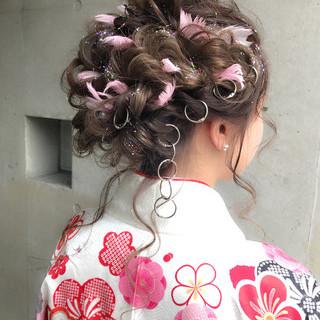 ガーリー 簡単ヘアアレンジ 結婚式 ミディアム ヘアスタイルや髪型の写真・画像