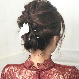 ヘアアレンジ ミディアム ナチュラル 結婚式 ヘアスタイルや髪型の写真・画像