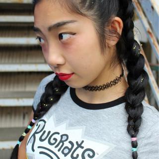 黒髪 編み込み ロング 個性的 ヘアスタイルや髪型の写真・画像