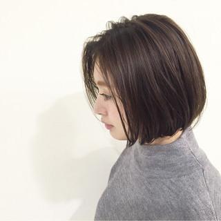 ハイライト ボブ 暗髪 ストレート ヘアスタイルや髪型の写真・画像