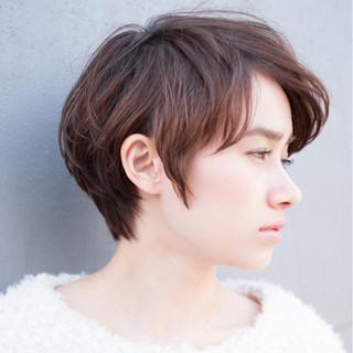 ナチュラル デジタルパーマ ショートボブ ショート ヘアスタイルや髪型の写真・画像