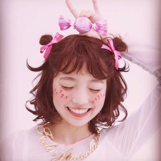 モテ髪 ガーリー お団子 簡単ヘアアレンジ ヘアスタイルや髪型の写真・画像