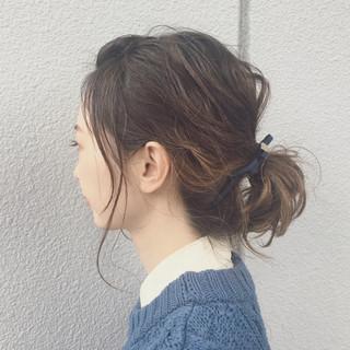 簡単ヘアアレンジ ミディアム ショート グラデーションカラー ヘアスタイルや髪型の写真・画像