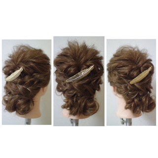 大人かわいい フェミニン ヘアアレンジ ショート ヘアスタイルや髪型の写真・画像