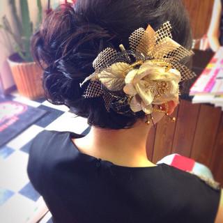 黒髪 ヘアアクセ ゆるふわ 結婚式 ヘアスタイルや髪型の写真・画像 ヘアスタイルや髪型の写真・画像