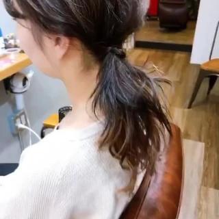 パープルアッシュ ストリート ミディアム インナーカラー ヘアスタイルや髪型の写真・画像