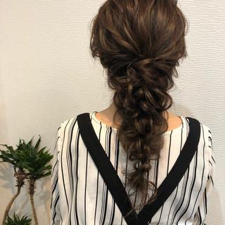 ヘアアレンジ ヘアセット 結婚式 編みおろしヘア ヘアスタイルや髪型の写真・画像