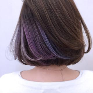 パープル モード アッシュ ニュアンス ヘアスタイルや髪型の写真・画像