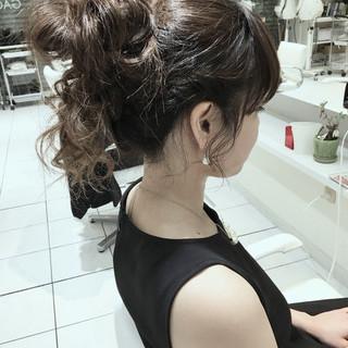 簡単ヘアアレンジ ハーフアップ セミロング ショート ヘアスタイルや髪型の写真・画像