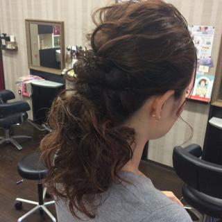 セミロング 結婚式 簡単ヘアアレンジ ナチュラル ヘアスタイルや髪型の写真・画像