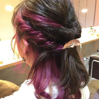 成人式 ミディアム くるりんぱ ヘアアレンジ ヘアスタイルや髪型の写真・画像