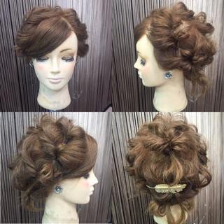 編み込み 波ウェーブ くるりんぱ 簡単ヘアアレンジ ヘアスタイルや髪型の写真・画像
