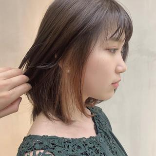 インナーカラー ハイトーン 透明感カラー ボブ ヘアスタイルや髪型の写真・画像