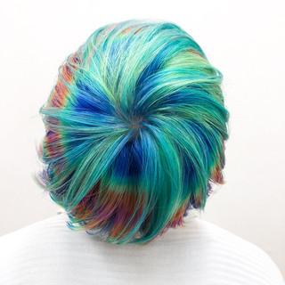 派手髪 ハイトーンカラー ショート カラフルカラー ヘアスタイルや髪型の写真・画像