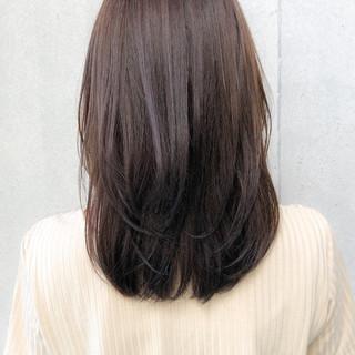 レイヤースタイル セミロング ナチュラル 大人可愛い ヘアスタイルや髪型の写真・画像