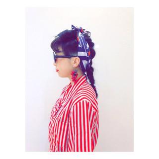 前髪あり 編み込み ヘアアレンジ ミディアム ヘアスタイルや髪型の写真・画像