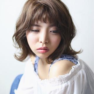 外国人風 ブラウン かわいい ミディアム ヘアスタイルや髪型の写真・画像